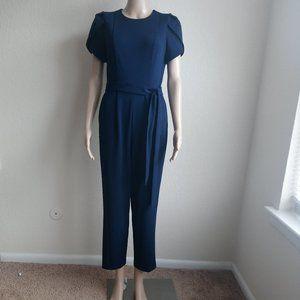 Calvin Klein Tulip Puff Sleeve Belted Jumpsuit